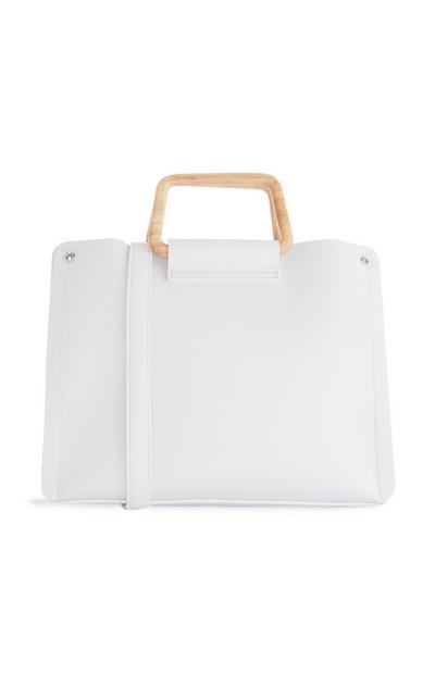 White Handbag With Square Wooden Handle