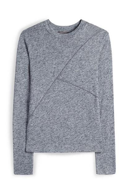 Grey Linen Seam Detail Jumper