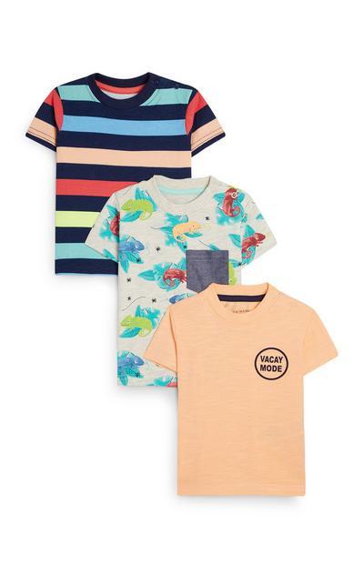 Pack 3 camisas verão menino bebé coral