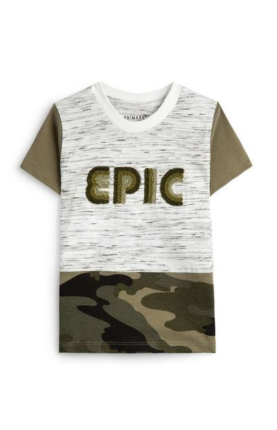 Khaki Camo Panel Epic Slogan T-Shirt