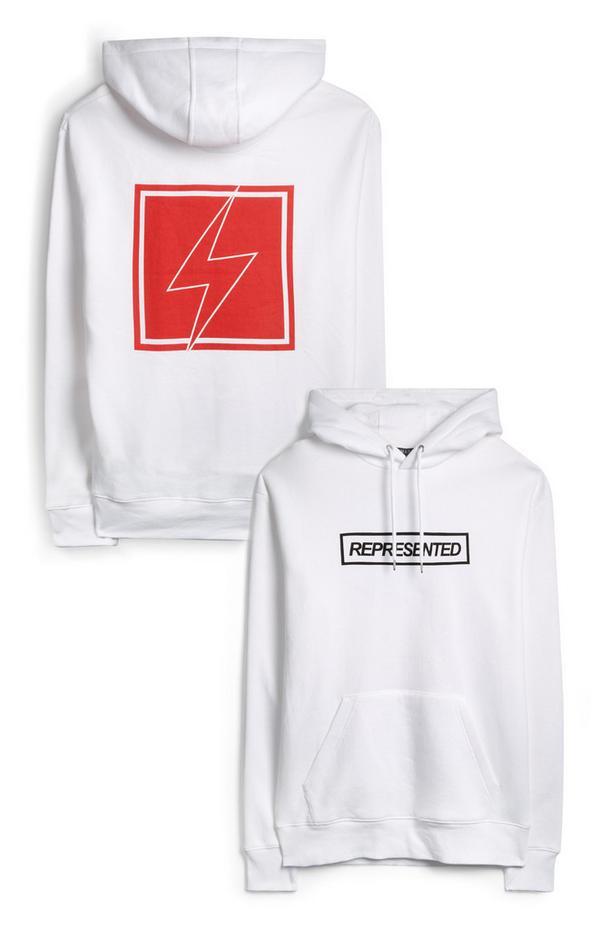 Witte hoodie met Represented- en Japanse print