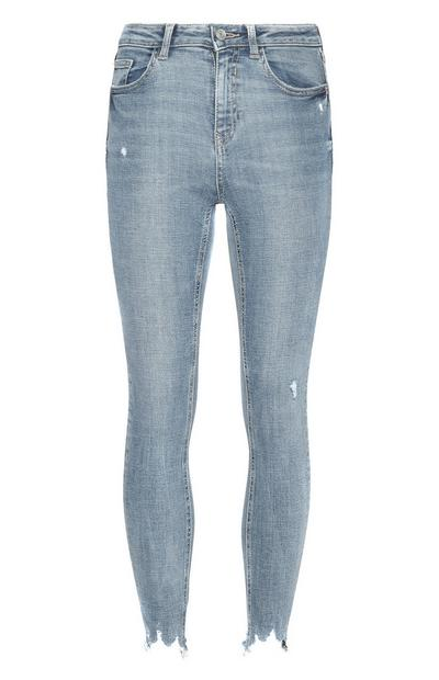 Light Blue Frayed Ankle Skinny Jeans