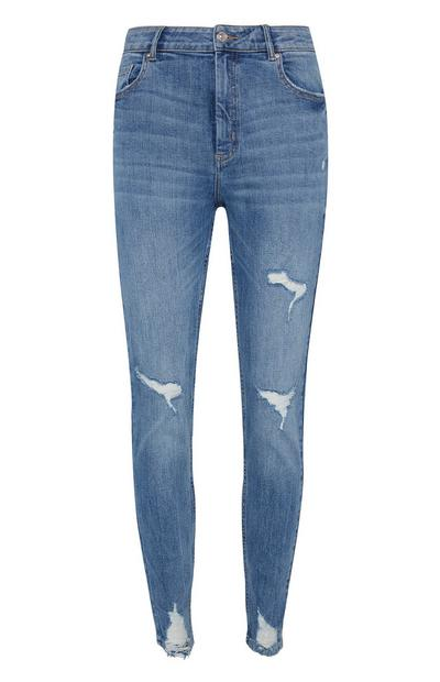 Blue Extreme Rip Skinny Jeans