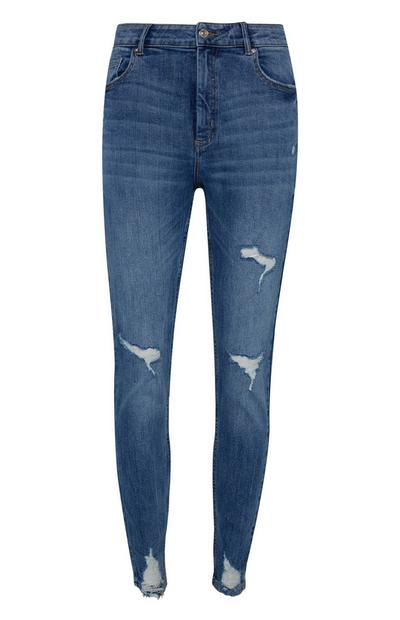 Dark Blue Extreme Ripped Skinny Jeans
