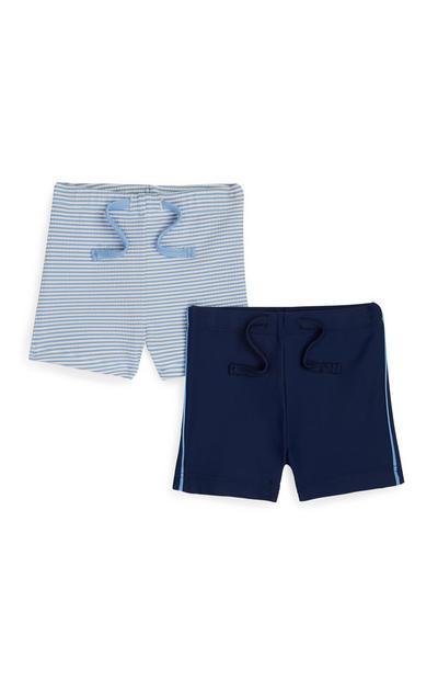 Pack 2 calções banho menino bebé Seersucker azul-marinho