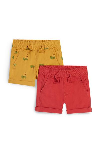 Mustard And Orange Canvas Shorts