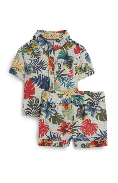 Baby Boy Floral Print Short And T-Shirt Co-ord