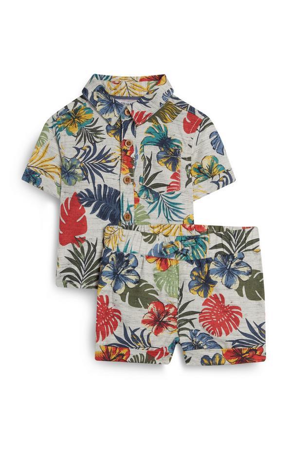 Ensemble t-shirt et short à imprimé floral bébé garçon
