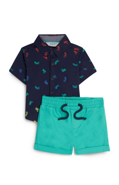Baby Boy Navy Lizard Print Shirt And Swim Shorts