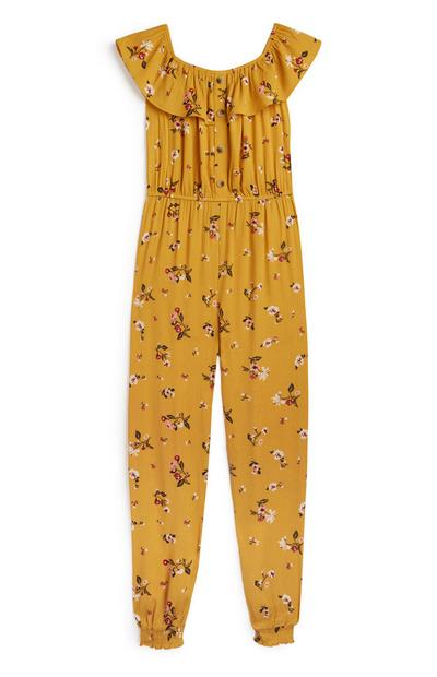 Older Girl Mustard Floral Jumpsuit