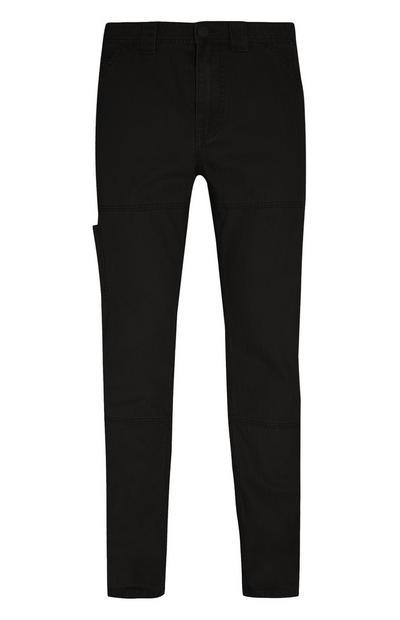 Črne mizarske hlače s potiskom ribje kosti