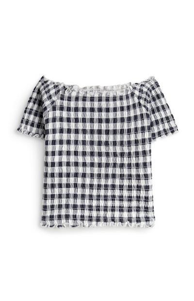 Top blanco y negro fruncido con hombros descubiertos para niña pequeña