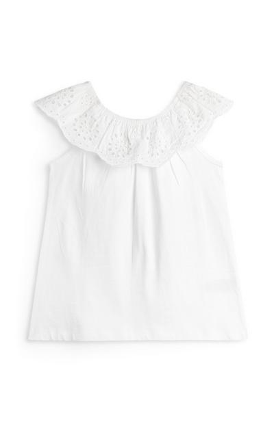 Witte geborduurde top in Bardot-stijl voor meisjes