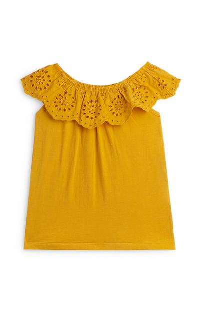 Younger Girl Yellow Anglais Bardot Top