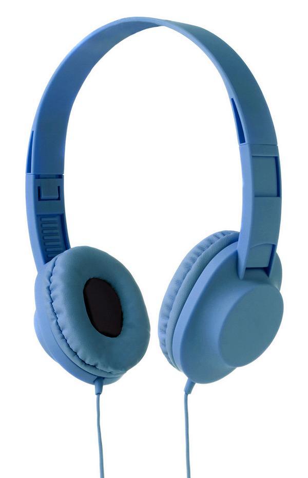 Blaue, kabelgebundene Kopfhörer