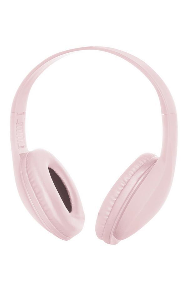 Auscultadores sem fios cor-de-rosa claro