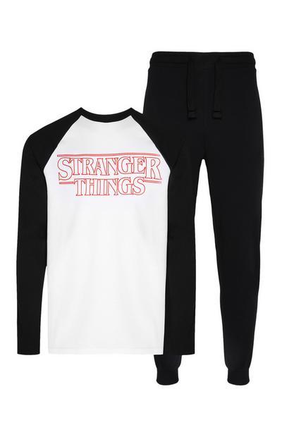Top/calças pijama estilo treino Stranger Things preto