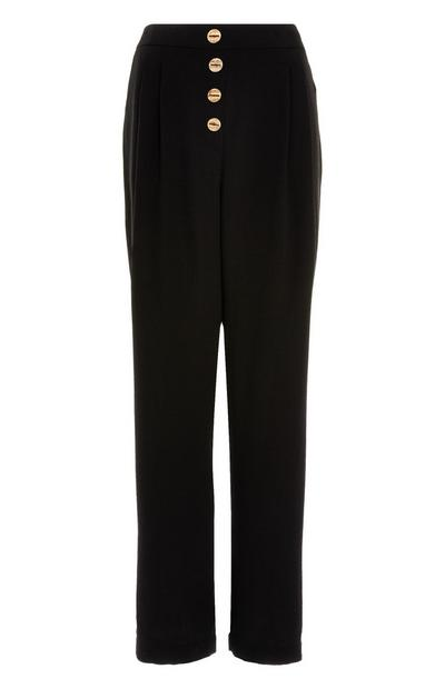 Black Lily Wide Leg Button Up Trousers