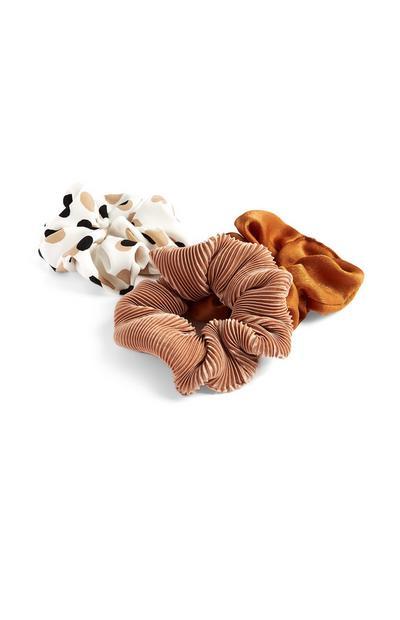 3-Pack Orange And Camel Polka Dot Scrunchies