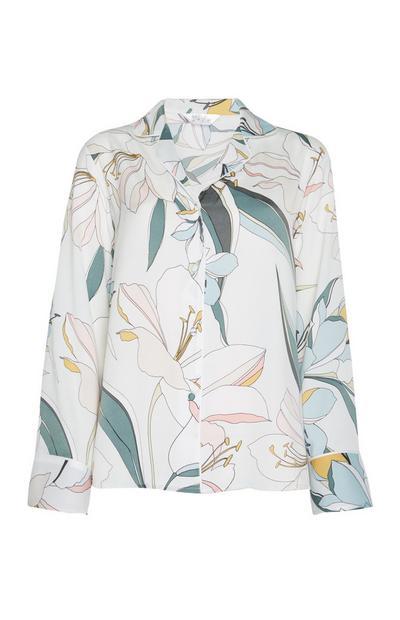 Satin Lily Print Pajama Shirt