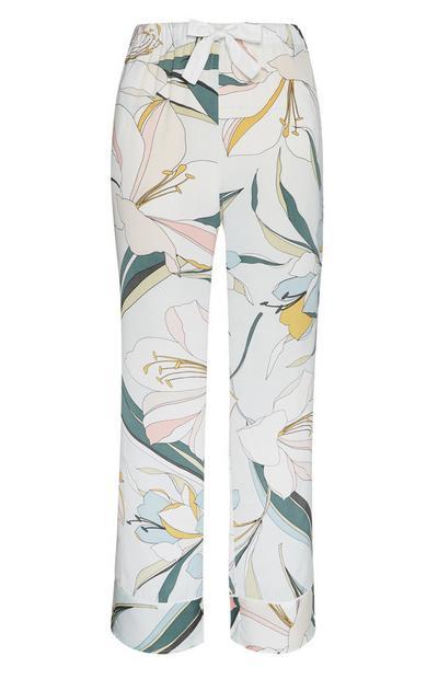 Satin-Pyjamahose mit Lilienmuster