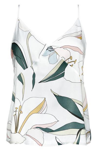 Satin-Pyjamatop mit Lilienmuster
