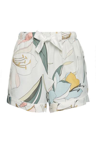 Satin-Pyjamashorts mit Lilienmuster