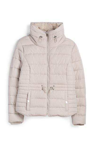 Light Pink Faux Fur Lined Puffer Jacket