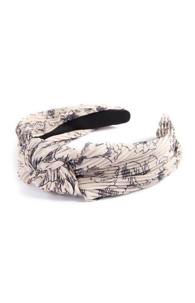 Cream Crinkle Floral Sketch Headband