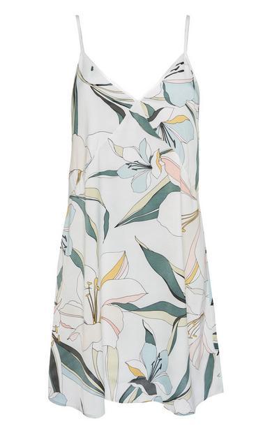 Satin Lily Print Pajama Dress