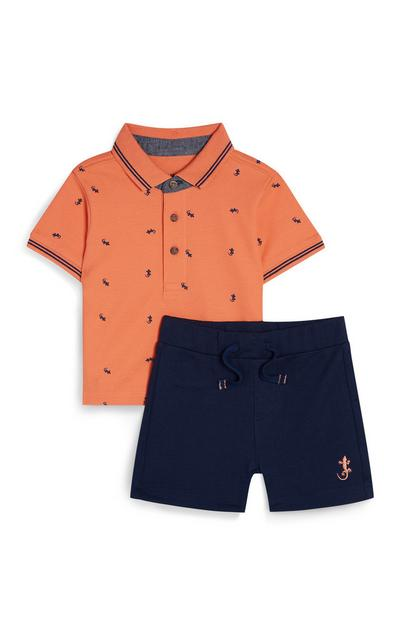 Baby Boy Orange And Navy Jersey Knit Shirt And Shorts Set