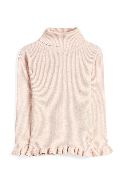 Younger Girl Pink Sparkly Roll Neck Top