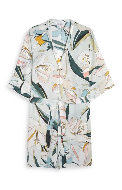 Satin Lily Print Pajama Robe