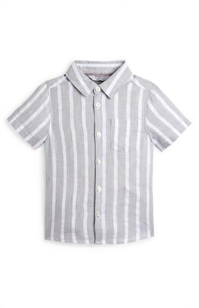 Grijs-wit gestreept babyoverhemd voor jongens