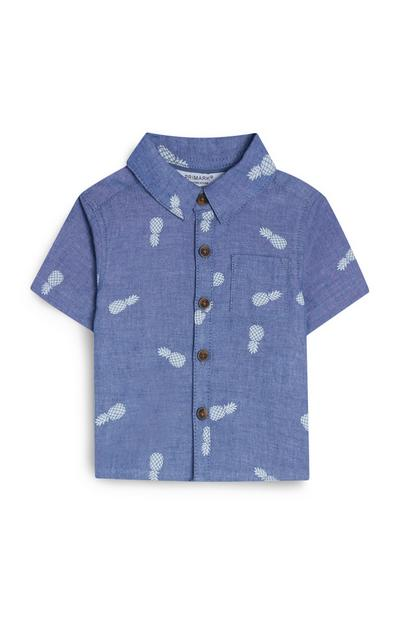 Camicia blu con stampa ananas da bimbo