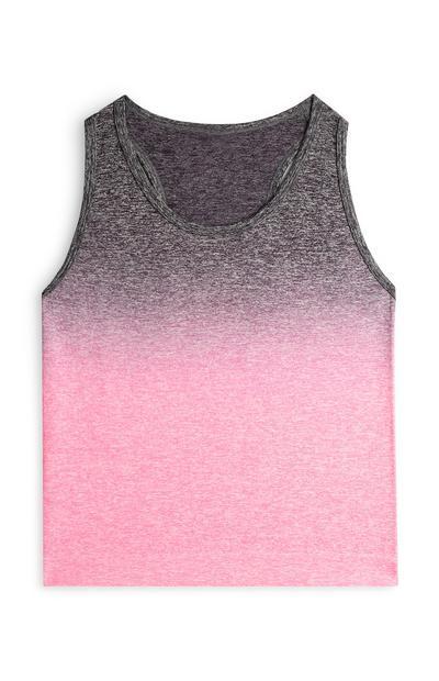 Canotta rosa sfumata sportiva da ragazza