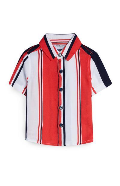 Rood-wit gestreept viscose baby-overhemd, jongens
