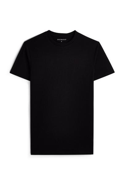 Črna majica s kratkimi rokavi in okroglim ovratnikom