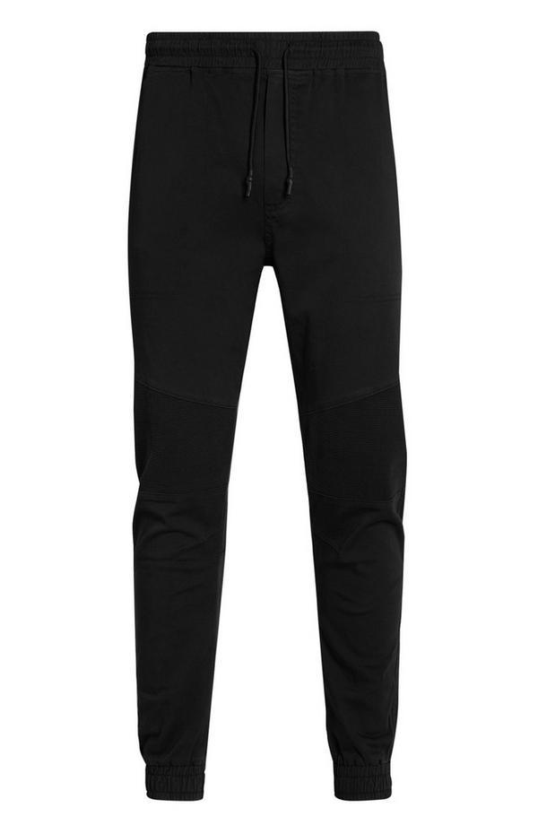 Motoristične črne hlače s stranskimi žepi