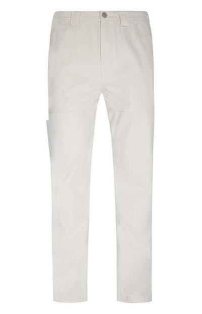 Ivory Herringbone Carpenter Pants