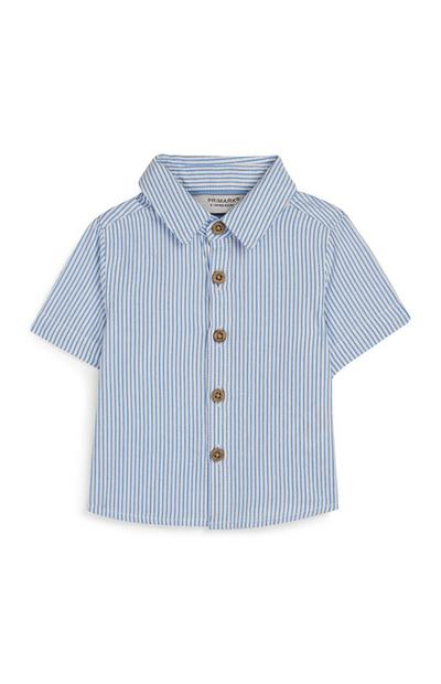 Baby Boy Blue Ticking Stripe Shirt