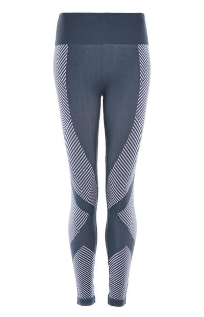 Dark Blue Chevron Sports Leggings