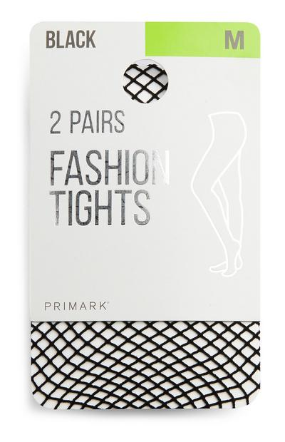 Black Medium Fishnet Tights 2Pk