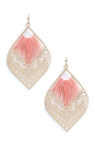 Pink Filigree Fish Hook Earrings