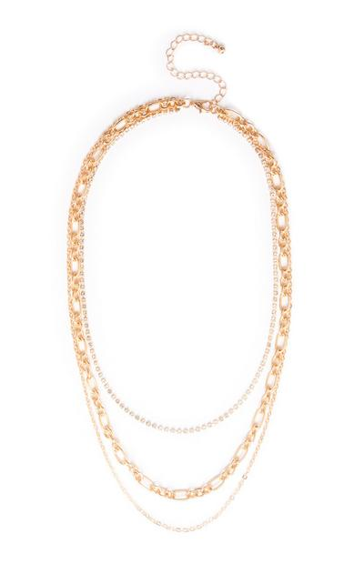 Yellow Layered Diamante Chain Necklace