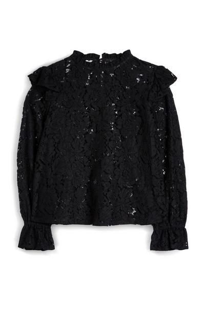 Črna čipkasta srajca z volančki