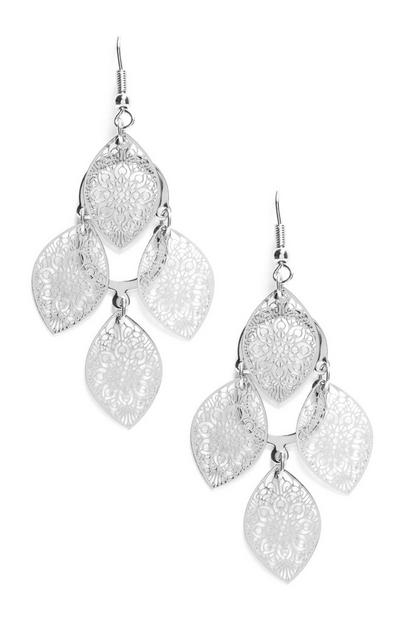 Silver Multi Leaf Filigree Drop Earrings