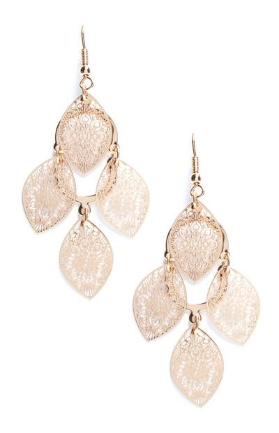 Gold Multi Leaf Filigree Drop Earrings