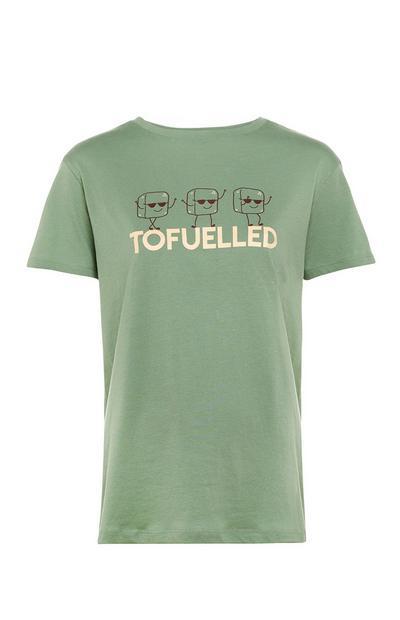 Green Tofuelled Slogan Crew Neck T-Shirt