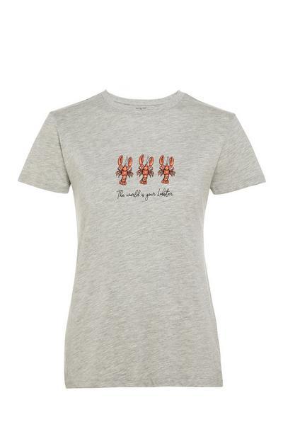 T-shirt gris ras-du-cou avec message et imprimé homard